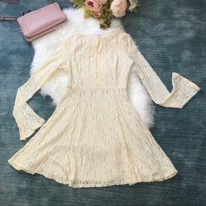 Free People Ivory Lace Long Sleeve Dress Size M